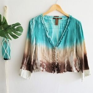 Silk Cropped Tie Dye Perfect Fit Top M
